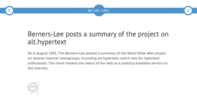 1. strona WWW (Berners-Lee) - opis ze stron CERN-u