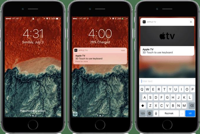 Klawiatura na zablokowanym ekranie w aplikacji Pilot do Apple TV pod iOS 10
