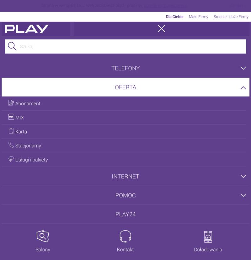 Menu mobilne na stronie play.pl (wersja na tablety)