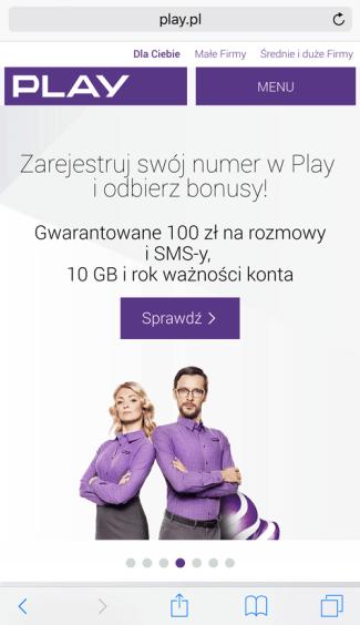 Internetowa strona główna Play - smartfon (screen)