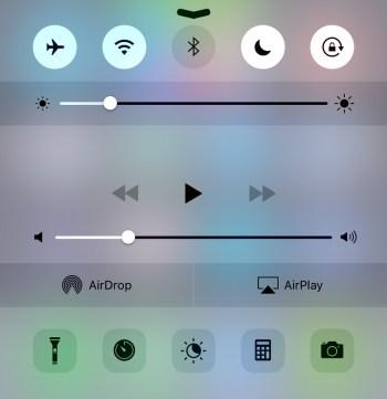 Centrum sterowania iOS - Tryb samolotowy