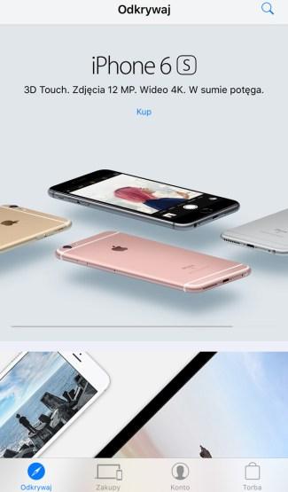 """Zakładka """"Odkrywaj"""" w aplikacji Apple Store 4.0"""