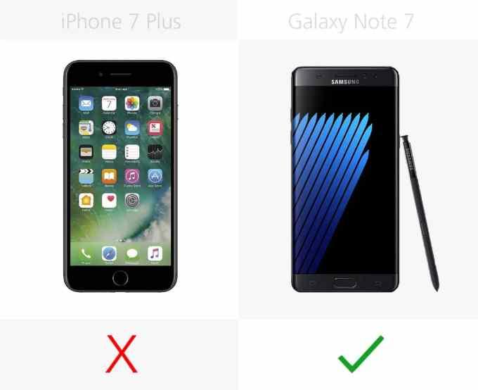 Zakrzywiony wyświetlacz, Iris scanner, VR, micro SD, rysik, szybkie ładowanie, bezprzewodowe ładowanie, wejście słuchawkowe, : iPhone 7 Plus vs. Galaxy Note 7