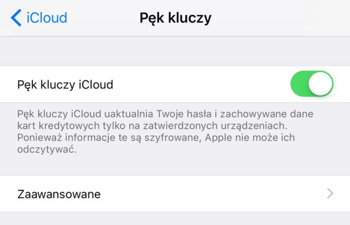 Pęk kluczy iCloud - włączenie