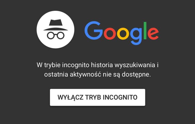 Tryb incognito w w aplikacji Google na iOS-a