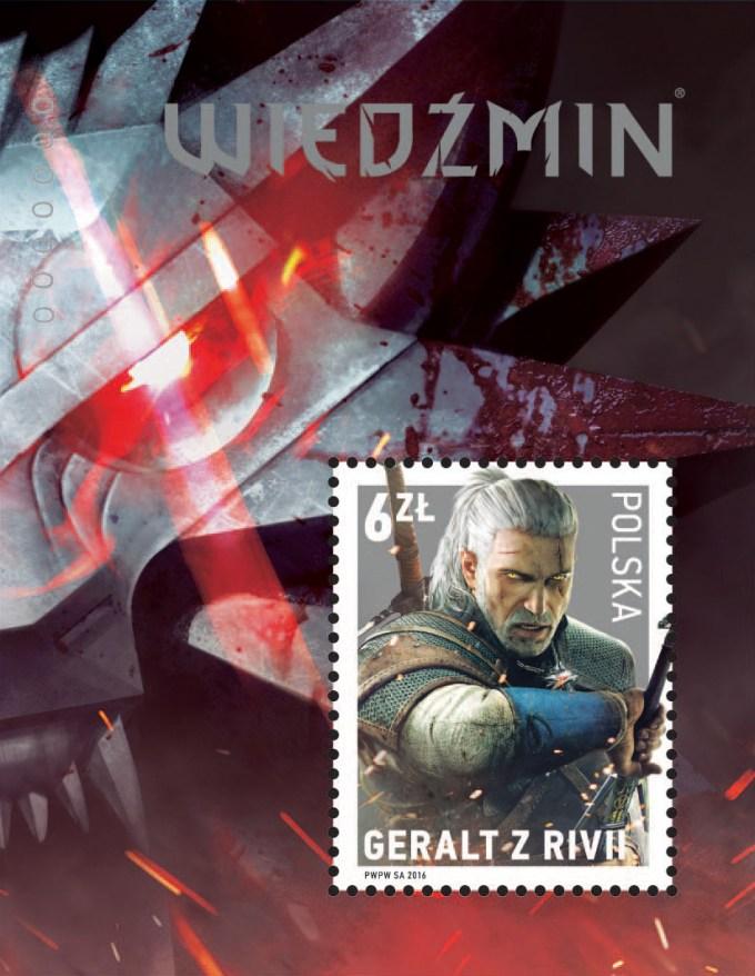 Znaczek Wiedźmin - w bloku (Poczta Polska)
