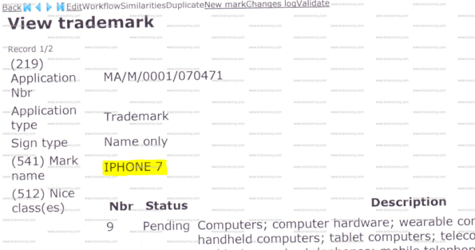 Znak towarowy iPhone 7 (Apple trademark)