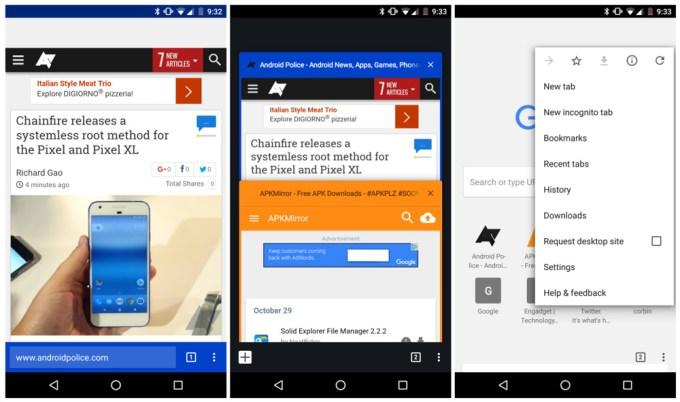 Dolny pasek adresu w mobilnej przeglądarce Chrome (screeny)