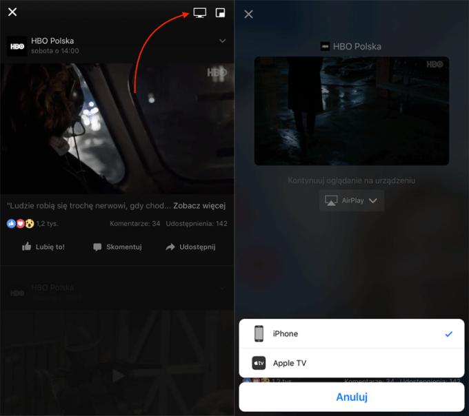 Udostępnianie wideo z Facebooka na Apple TV (screeny z aplikacji)