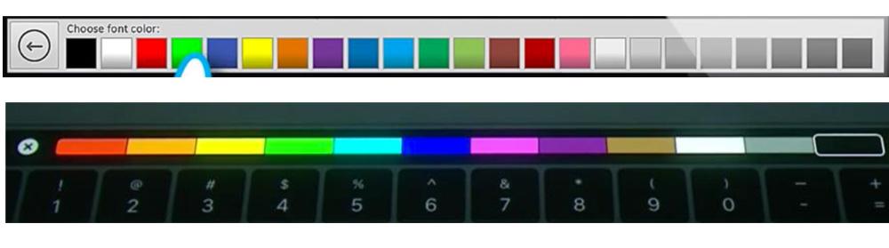 iKeys vs. Touch Bar (kolor czcionki)