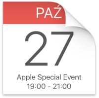 Ikona kalendarza: Apple Special Event 27.20.2016 godz. 19.00