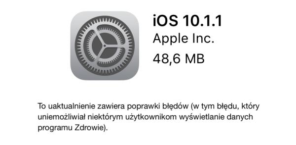 Uaktualnienie iOS 10.1.1 dla iPhone'a i iPada