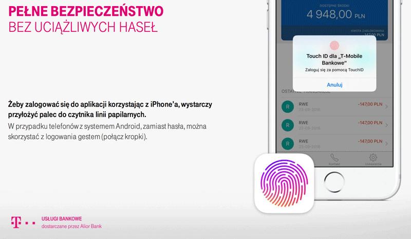 Nowa aplikacja Usługi Bankowe od T-Mobile (logowanie odciskiem palca)