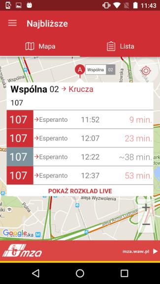 Screen aplikacji TramBus (Android)