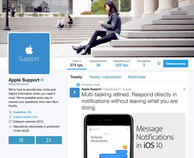 @AppleSupport na Twitterze (screen, listopad 2016)