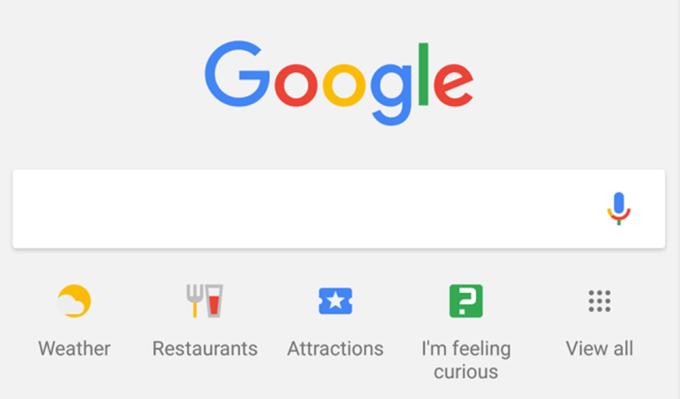 Ikony pod paskiem wyszukiwania w mobilnej wyszukiwarce Google