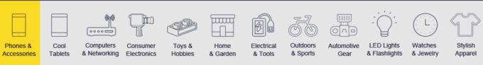 Kategorie produktów w promocji na Gearbest