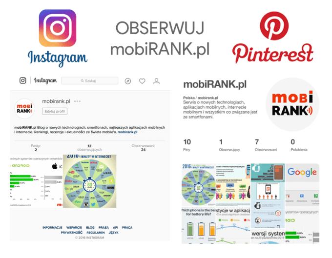 Obserwuj mobiRANK.pl w serwisach Instagram i Pinterest