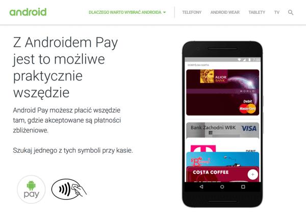 Polska strona usługi Android Pay jest już dostępna