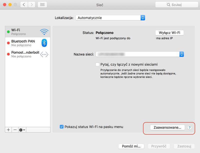 Ustawienia sieci Wi-Fi na Macu