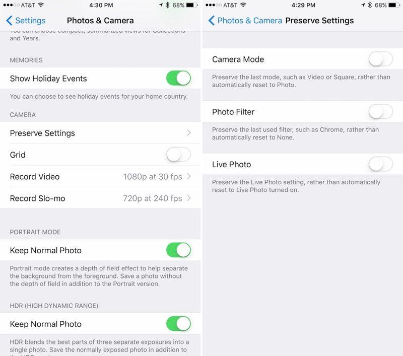 Zachowanie ustawień a aplikacji Aparat iOS 10.2