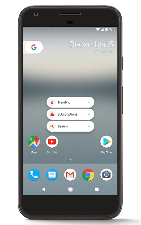 Menu kontekstowe pod ikonami aplikacji (Android 7.1.1)