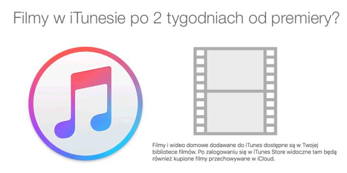 Filmy w iTunes 2 tygodnie po premierze kinowej?