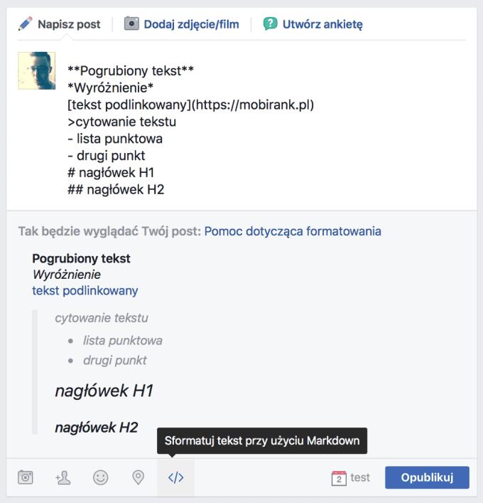 Przykład formatowania tekstu na Facebooku przy pomocy Markdown
