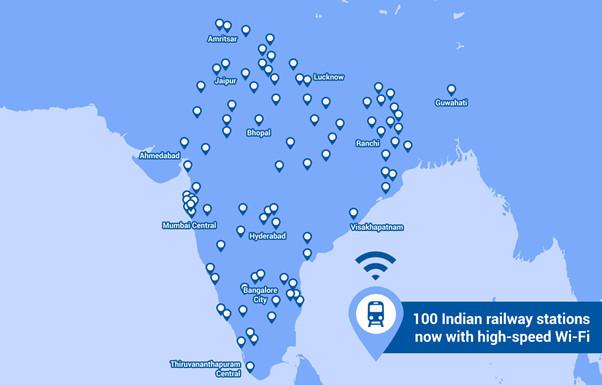 100 stacji z darmowym Wi-Fi w Indiach (Google, RailWire)