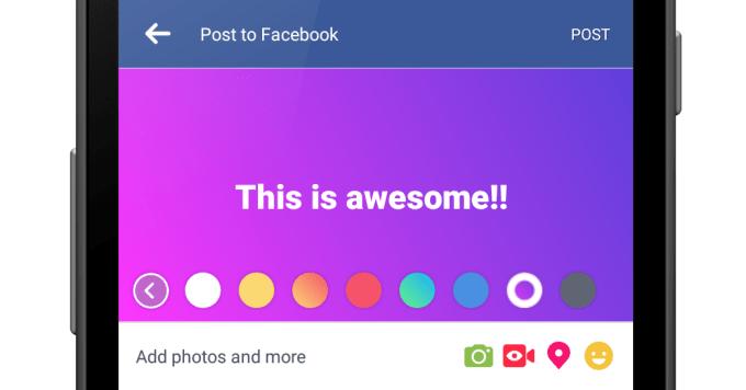 Kolorowe tła wpisów na Facebooku