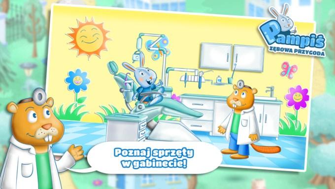 """Screen z mobilnej gry edukacyjnej """"Pampiś - Zębowa Przygoda"""""""