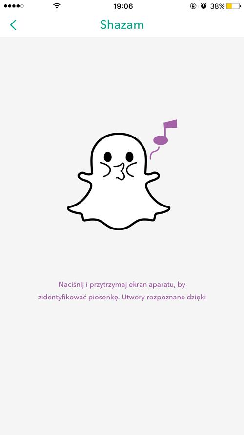Shazam w aplikacji Snapchat