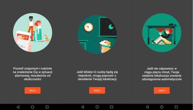 Aplikacja Zaufane kontakty na Androida (screen)