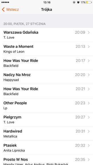 Recently Played - lista utworów odtwarzanych w radiu o określonej godzinie