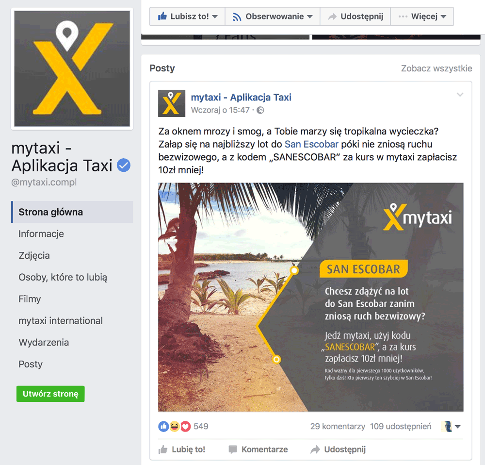 San Escobar - przewoźnik myTaxi na Facebooku
