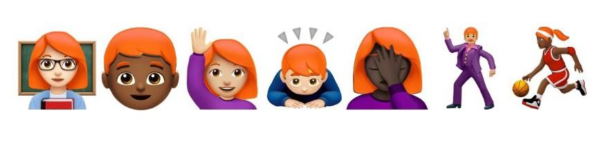 Kombinacje użycia rudowłosych emoji (emotikon)
