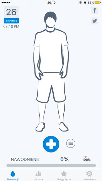 WaterMinder - screen iPhone - ekran główny aplikacji