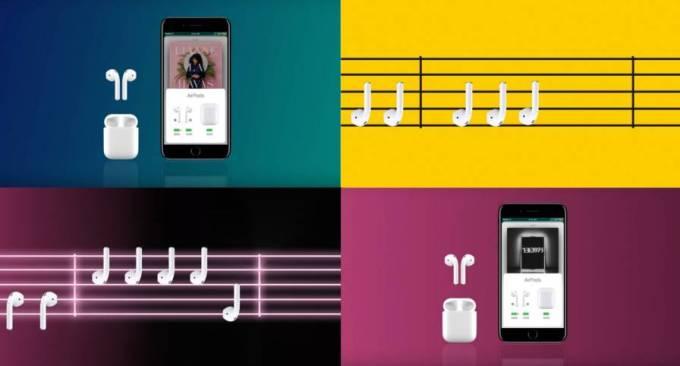 Reklama słuchawek AirPods Apple'a
