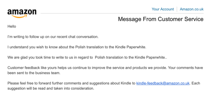 Amazon Message - Polish translation request