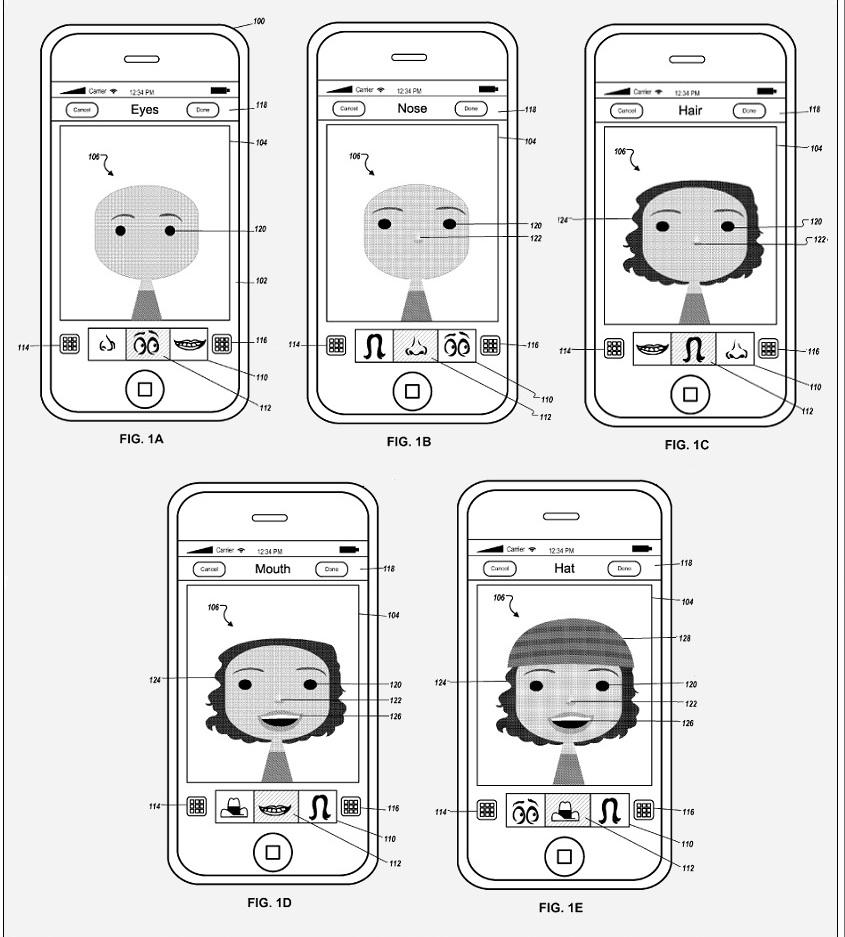 Przykład interfejsu tworzenia awatara w aplikacji Apple
