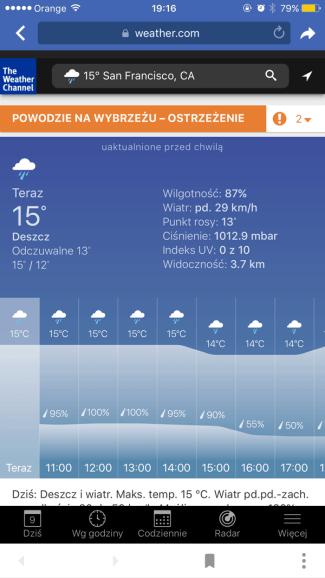 Szczegóły pogody w weather.com przez Facebooka (screen)