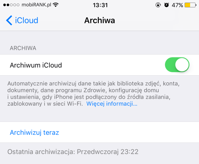 Archiwum iCloud (iPhone)