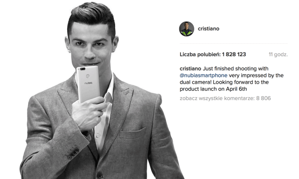 Cristiano Ronaldo zajawia smartfona ZTE nubia Z17 mini