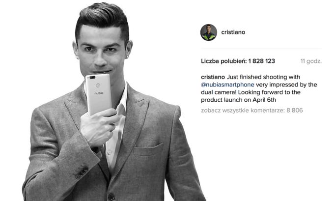 Cristiano Ronaldo zajawia nowego smartfona ZTE nubia Z17 mini na Instagramie