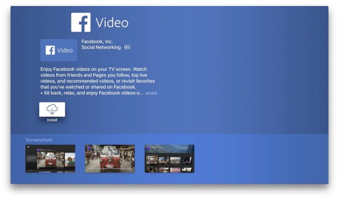 Facebook Video na Apple TV (App Store)