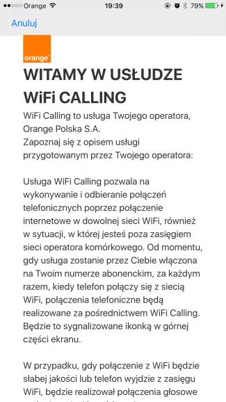 Orange Wi-Fi Calling na iPhone'ie w Orange