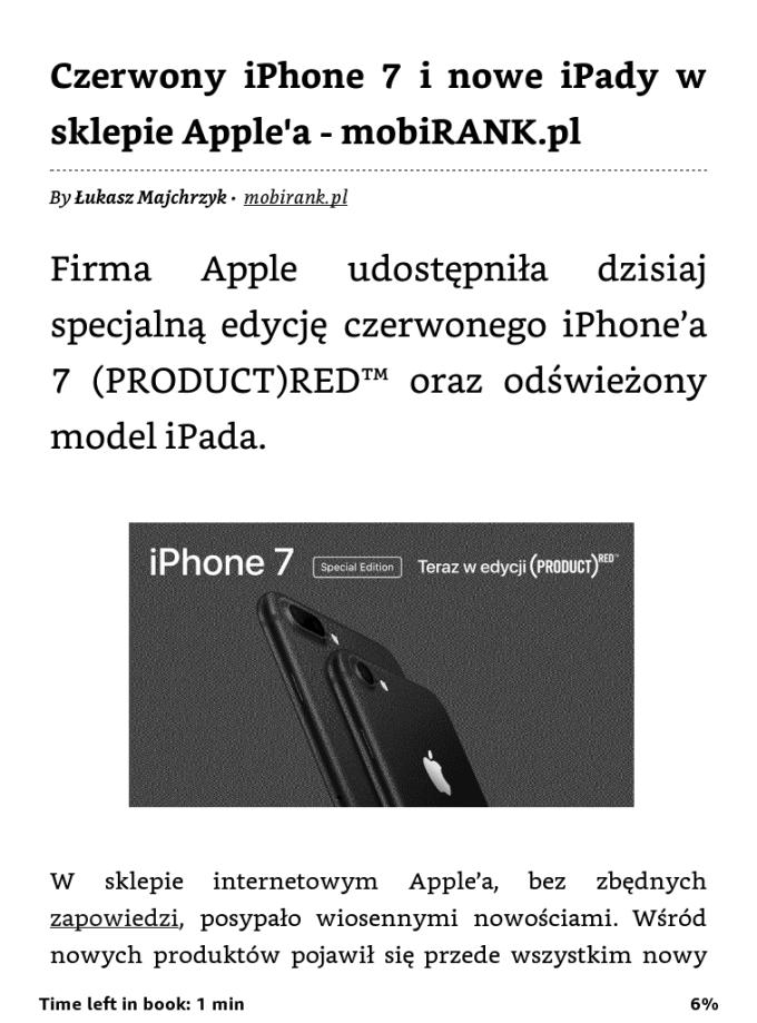 Przykładowy artykuł przesłany z Safari wprost na czytnik Kindle