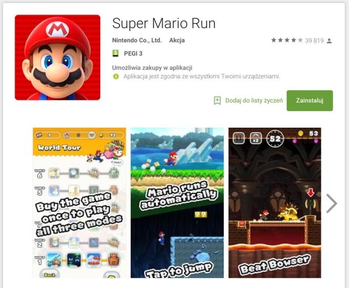 Super Mario Run 2.0.0 na Androida w sklepie Google Play