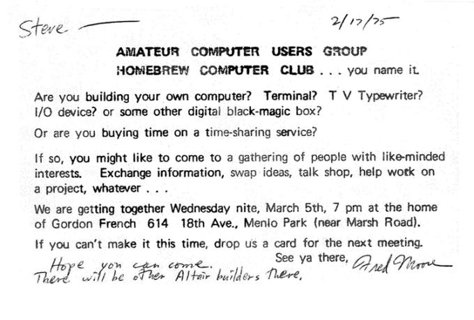 Zaproszenie na 1. spotkanie członków Homebrew Computer Club