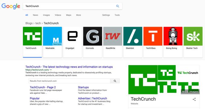 Blogi w wynikach wyszukiwania (karuzela)